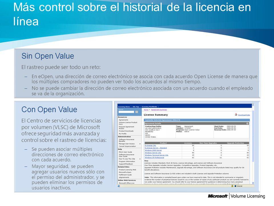 Más control sobre el historial de la licencia en línea