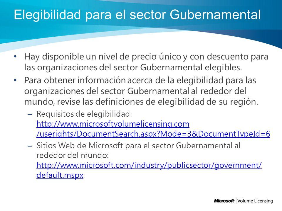 Elegibilidad para el sector Gubernamental