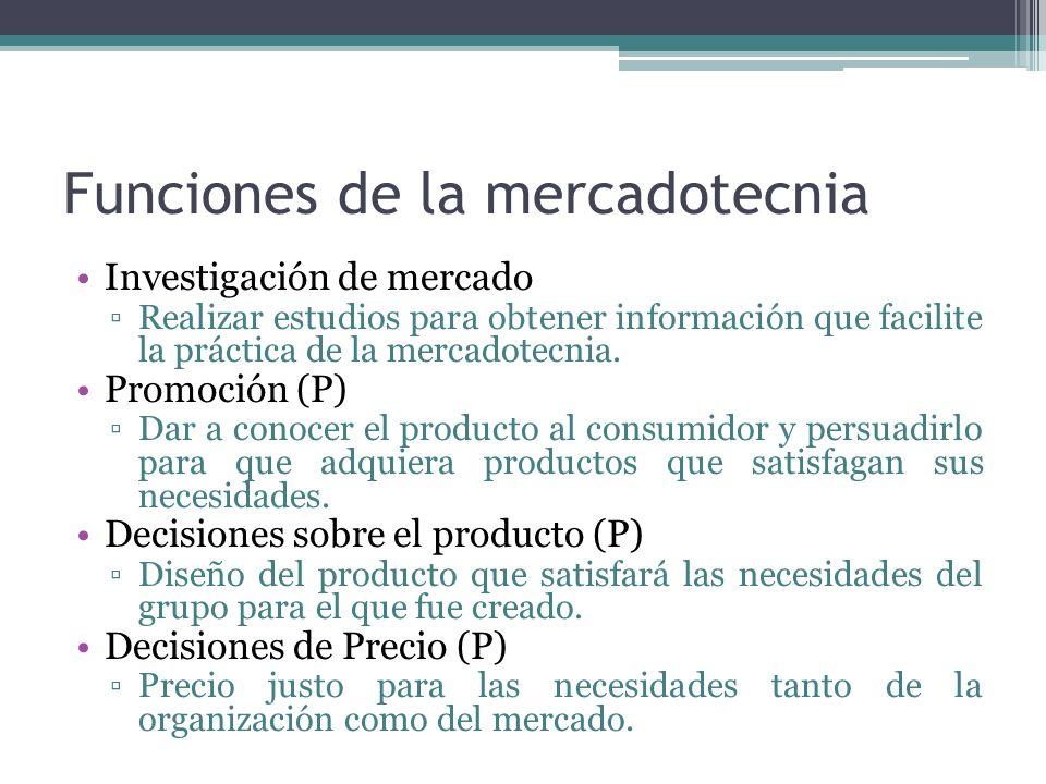 Funciones de la mercadotecnia