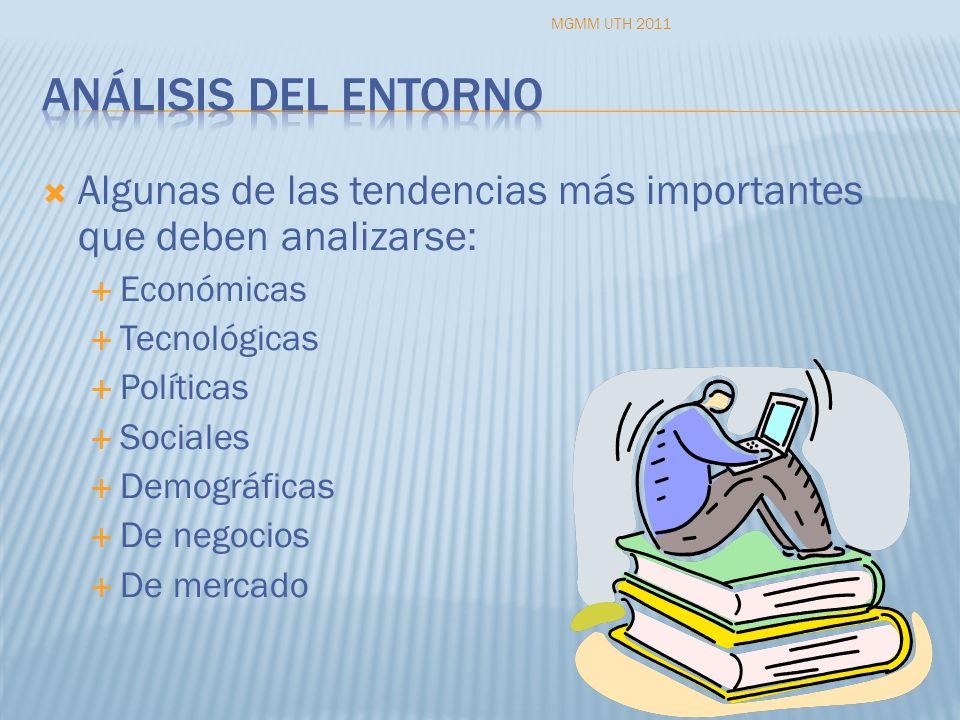 MGMM UTH 2011 Análisis del entorno. Algunas de las tendencias más importantes que deben analizarse: