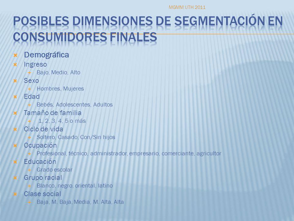 Posibles dimensiones de segmentación en consumidores finales