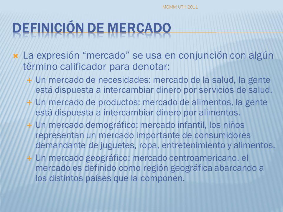 MGMM UTH 2011 Definición de mercado. La expresión mercado se usa en conjunción con algún término calificador para denotar: