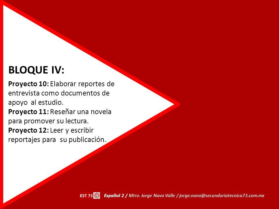 BLOQUE IV: Proyecto 10: Elaborar reportes de entrevista como documentos de apoyo al estudio.