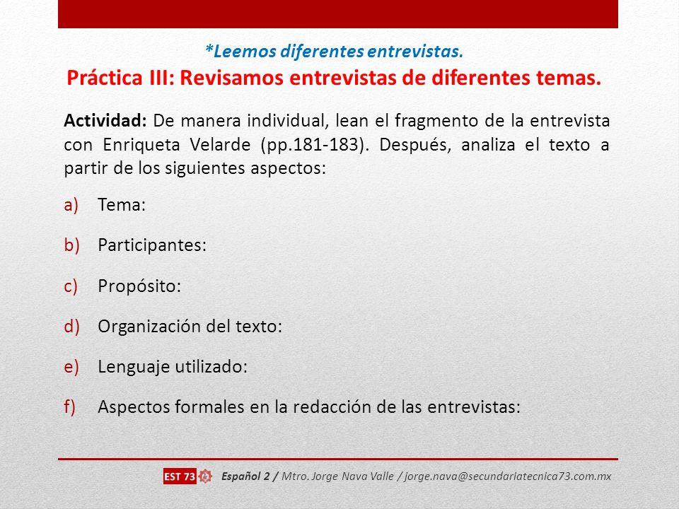 Organización del texto: Lenguaje utilizado: