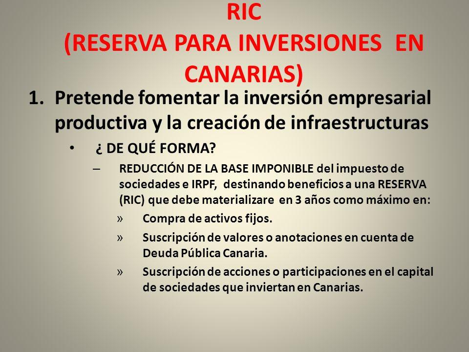 RIC (RESERVA PARA INVERSIONES EN CANARIAS)