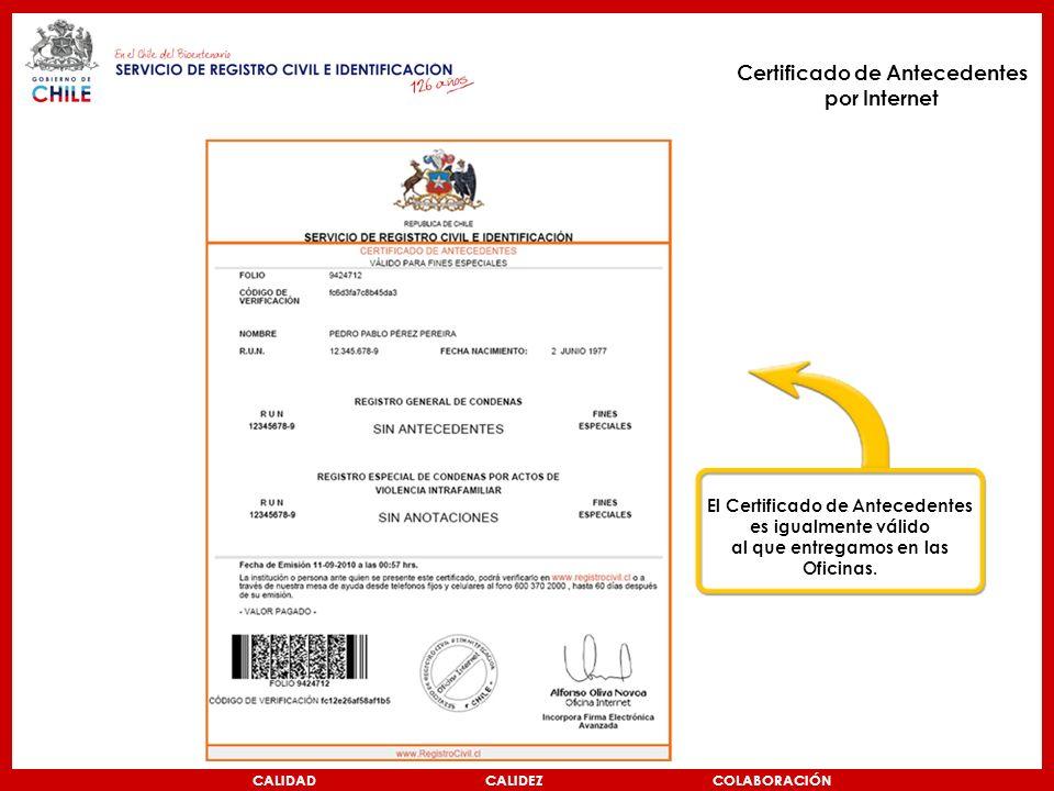 Certificado de Antecedentes por Internet