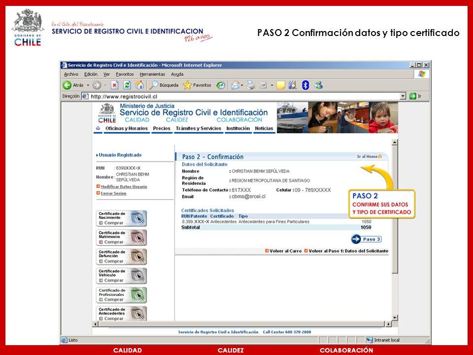 PASO 2 Confirmación datos y tipo certificado