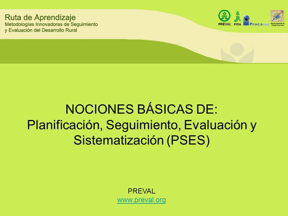 NOCIONES BÁSICAS DE: Planificación, Seguimiento, Evaluación y Sistematización (PSES)