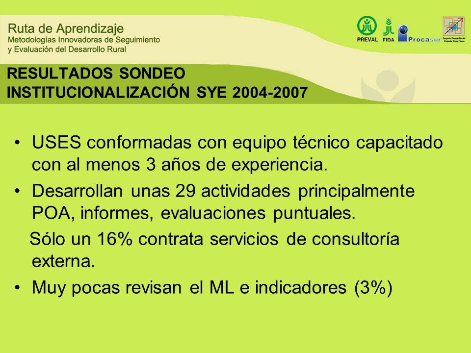 RESULTADOS SONDEO INSTITUCIONALIZACIÓN SYE 2004-2007