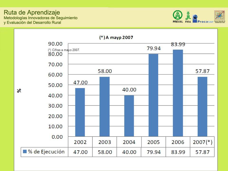 (*) Cifras a mayo 2007. EJECUCIÓN PRESUPUESTAL ANUAL PROMEDIO DE LAS USEs
