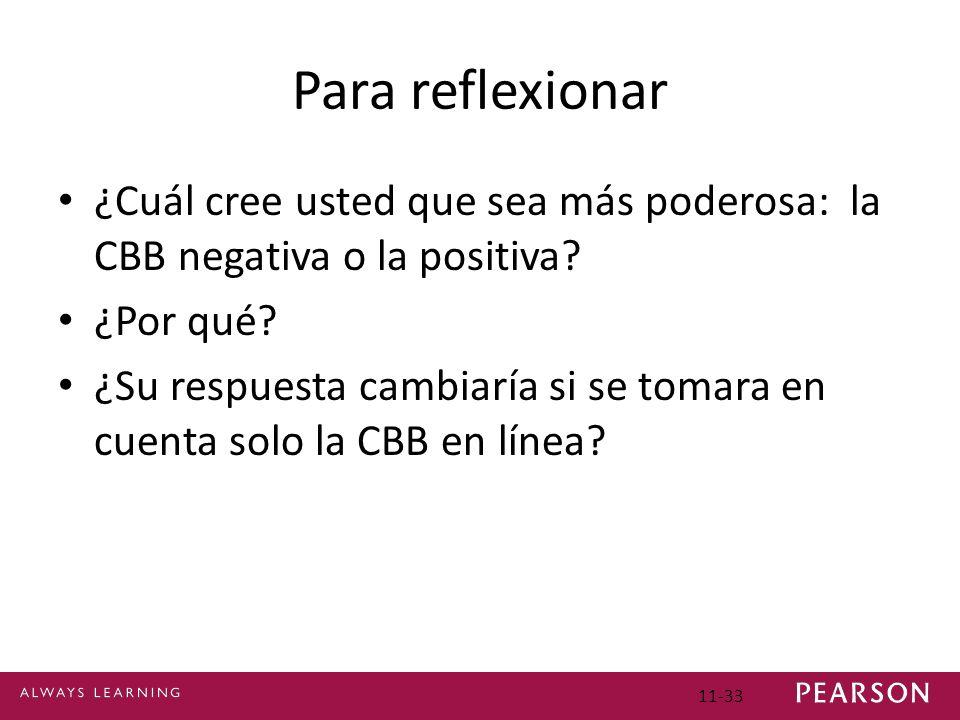 Para reflexionar ¿Cuál cree usted que sea más poderosa: la CBB negativa o la positiva ¿Por qué