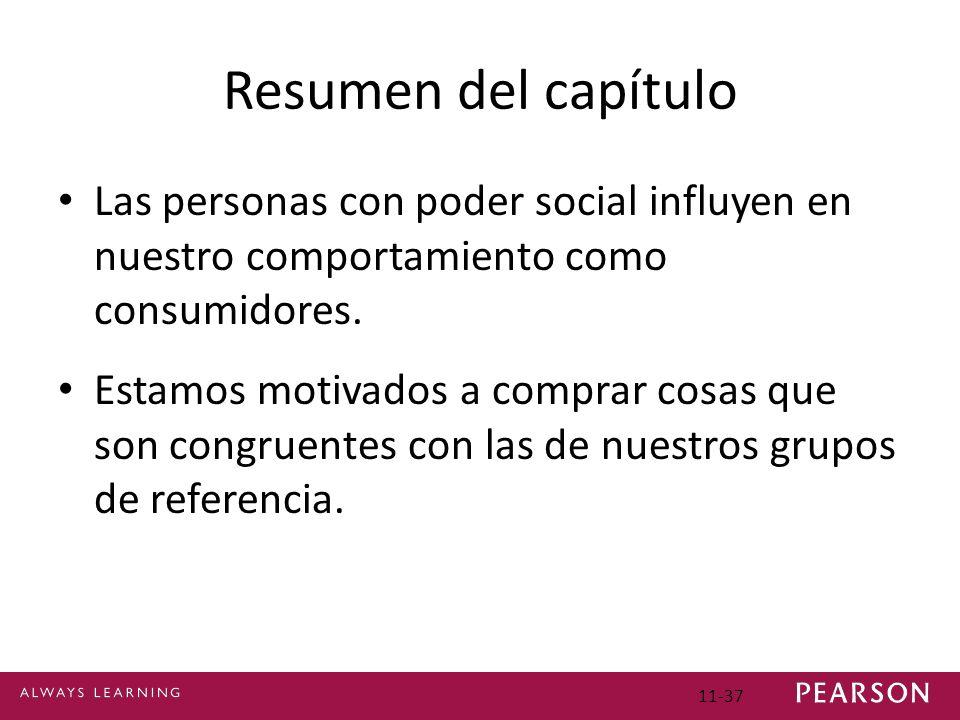 Resumen del capítulo Las personas con poder social influyen en nuestro comportamiento como consumidores.