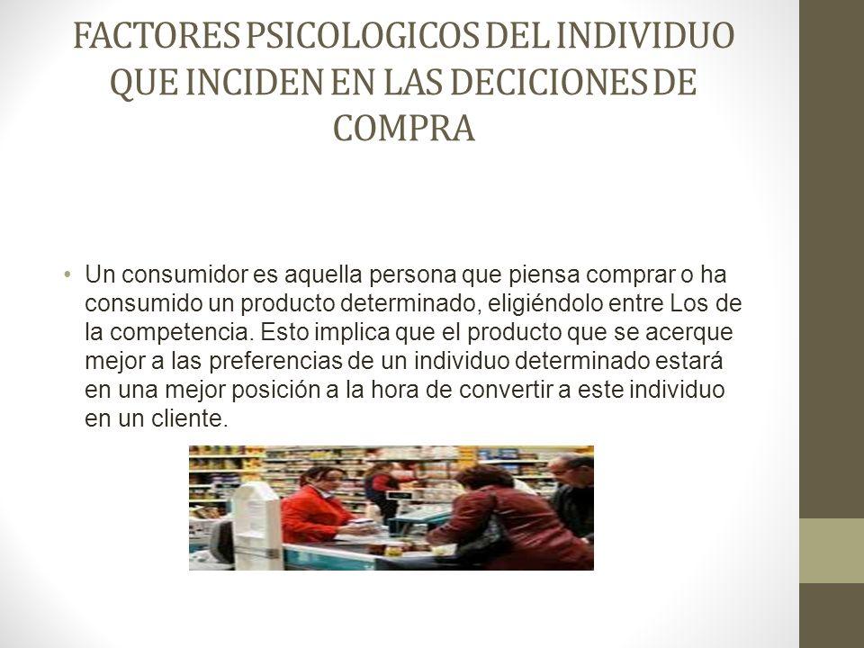 FACTORES PSICOLOGICOS DEL INDIVIDUO QUE INCIDEN EN LAS DECICIONES DE COMPRA