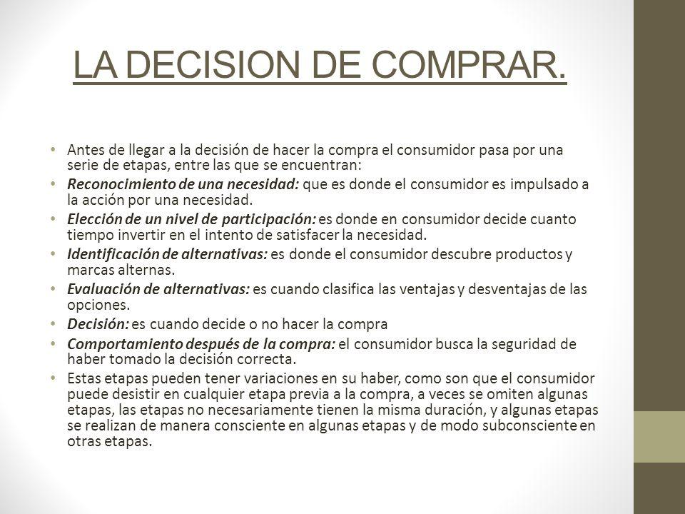 LA DECISION DE COMPRAR. Antes de llegar a la decisión de hacer la compra el consumidor pasa por una serie de etapas, entre las que se encuentran: