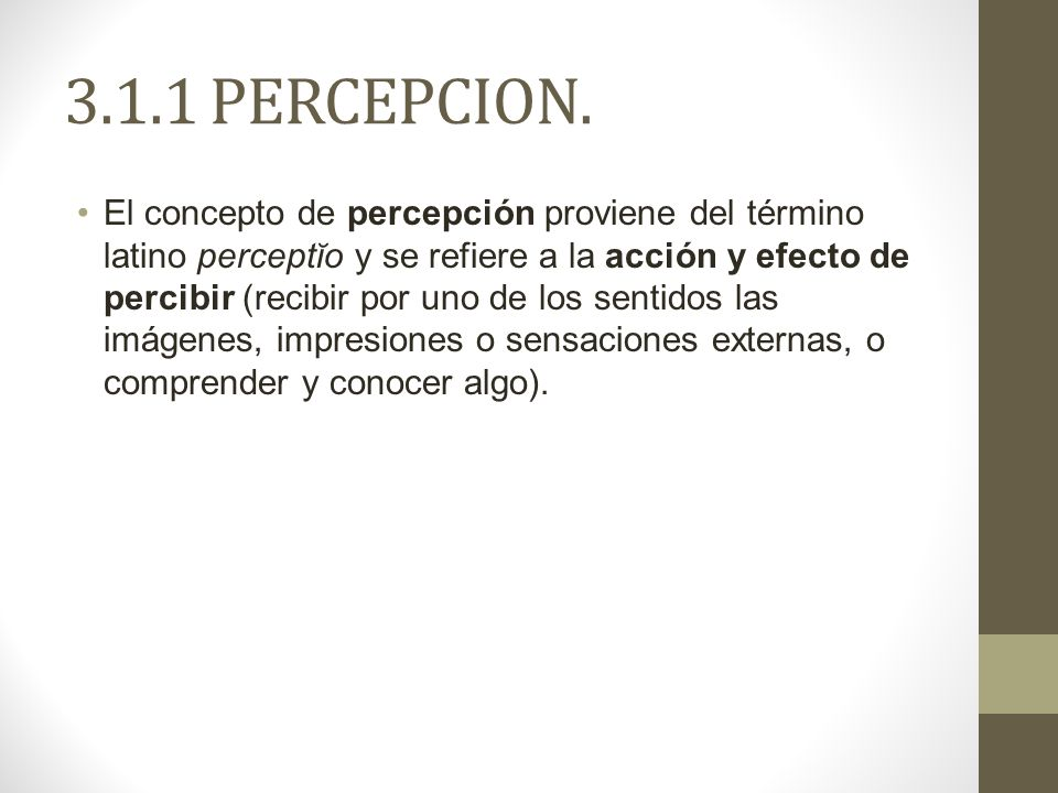 3.1.1 PERCEPCION.