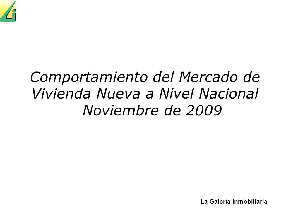 Comportamiento del Mercado de Vivienda Nueva a Nivel Nacional Noviembre de 2009