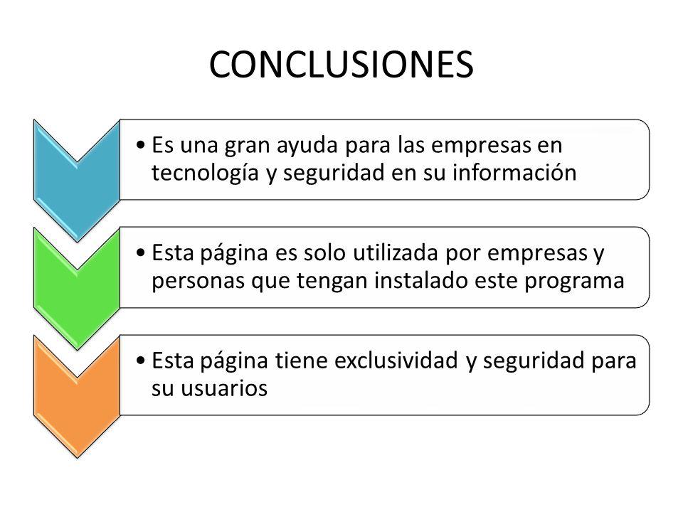 CONCLUSIONES Es una gran ayuda para las empresas en tecnología y seguridad en su información.