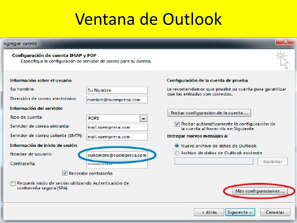 Ventana de Outlook