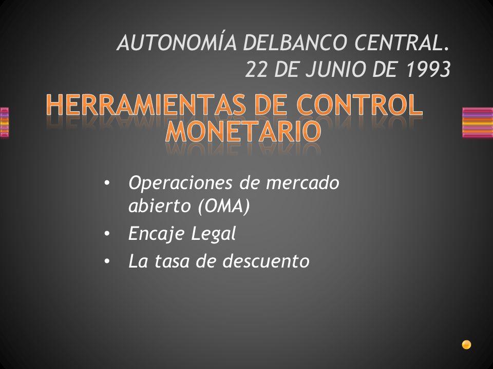 AUTONOMÍA DELBANCO CENTRAL. 22 DE JUNIO DE 1993