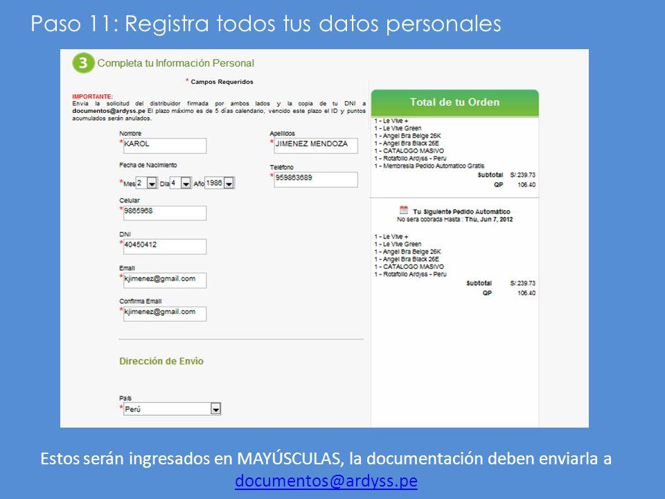 Paso 11: Registra todos tus datos personales