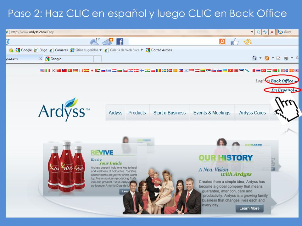 Paso 2: Haz CLIC en español y luego CLIC en Back Office