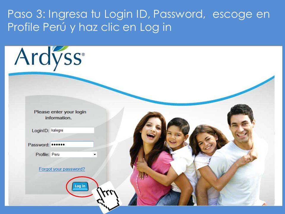 Paso 3: Ingresa tu Login ID, Password, escoge en Profile Perú y haz clic en Log in