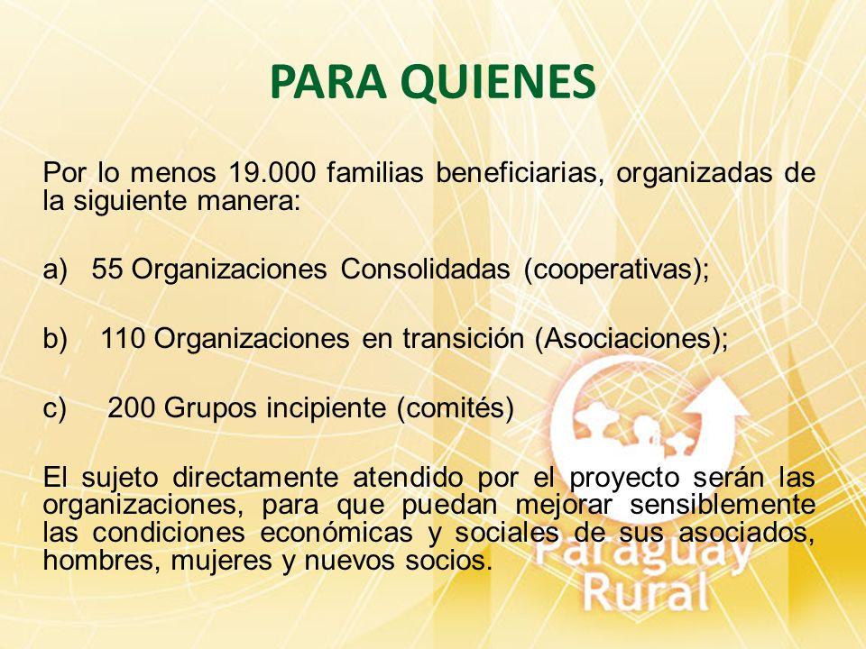 PARA QUIENESPor lo menos 19.000 familias beneficiarias, organizadas de la siguiente manera: 55 Organizaciones Consolidadas (cooperativas);