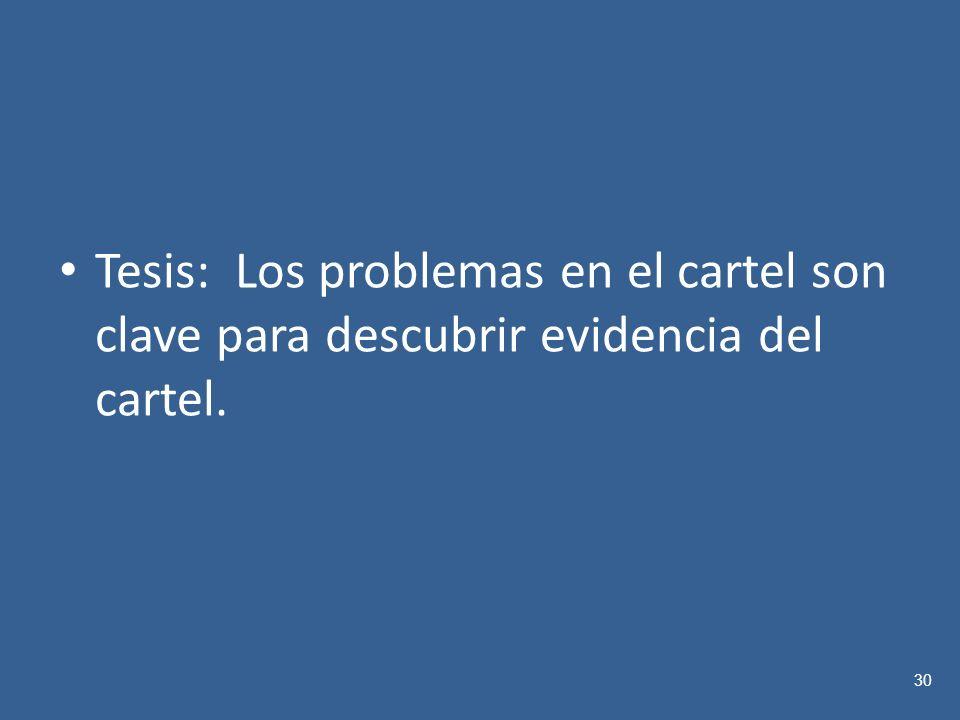 Tesis: Los problemas en el cartel son clave para descubrir evidencia del cartel.
