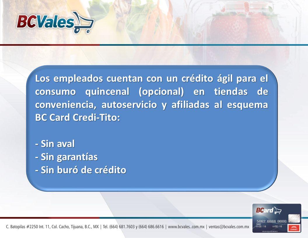 Los empleados cuentan con un crédito ágil para el consumo quincenal (opcional) en tiendas de conveniencia, autoservicio y afiliadas al esquema BC Card Credi-Tito: