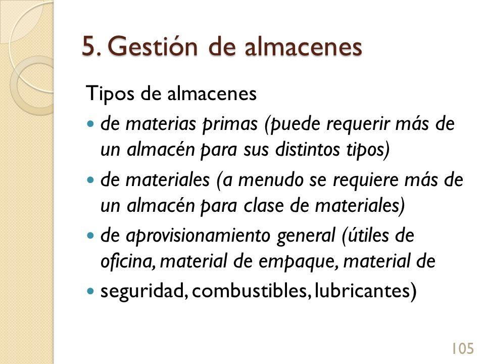 5. Gestión de almacenes Tipos de almacenes