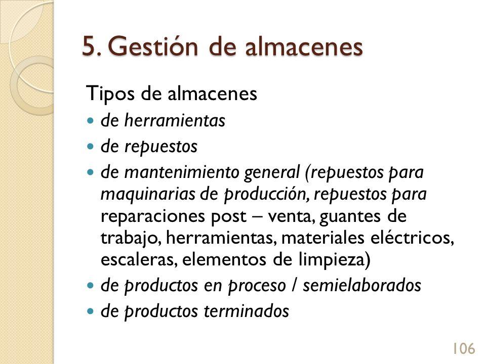 5. Gestión de almacenes Tipos de almacenes de herramientas