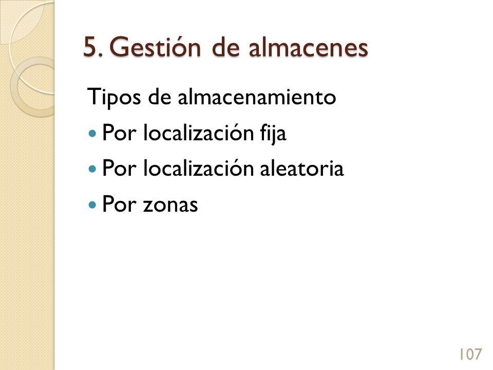 5. Gestión de almacenes Tipos de almacenamiento Por localización fija