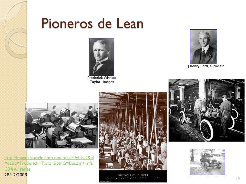 Pioneros de Lean http://images.google.com.mx/images gbv=2&hl=es&q=Frederick+Taylor&btnG=Buscar+im%C3%A1genes.
