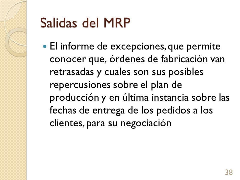 Salidas del MRP