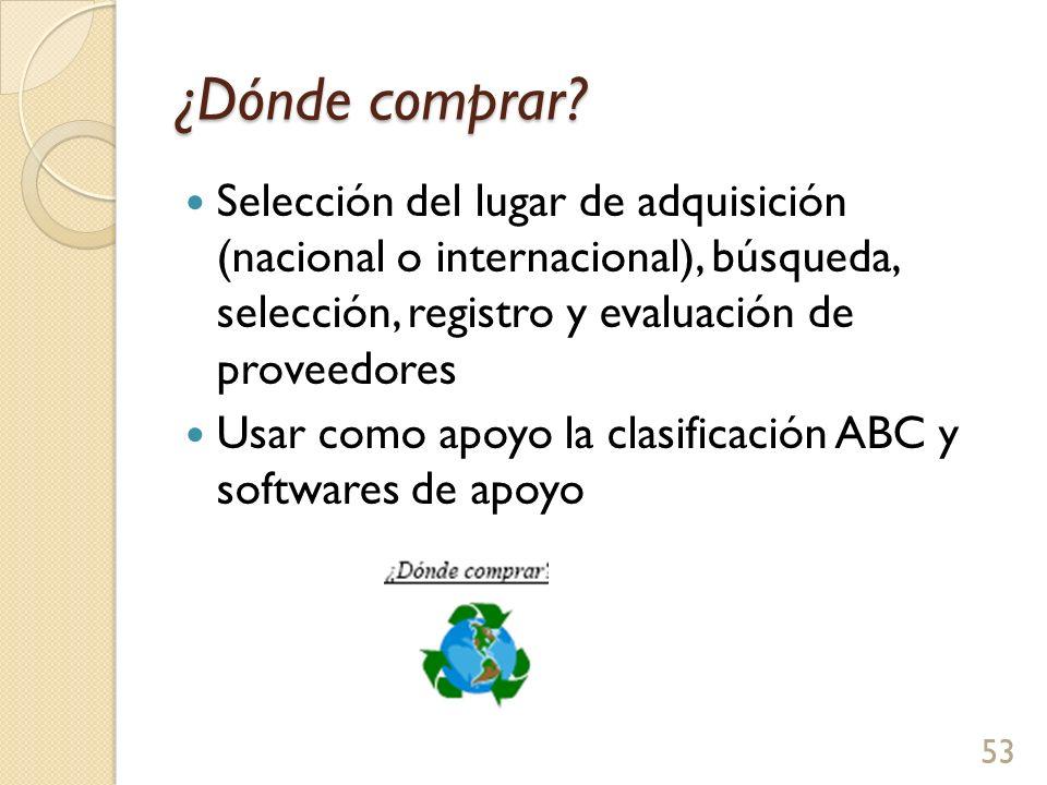 ¿Dónde comprar Selección del lugar de adquisición (nacional o internacional), búsqueda, selección, registro y evaluación de proveedores.