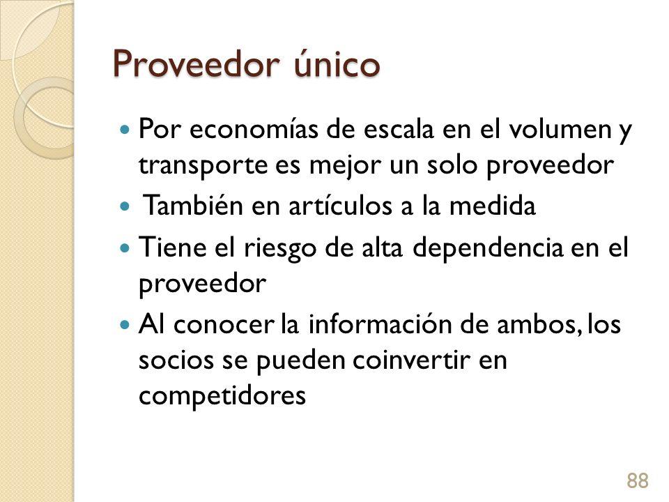 Proveedor único Por economías de escala en el volumen y transporte es mejor un solo proveedor. También en artículos a la medida.