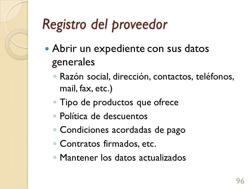 Registro del proveedor