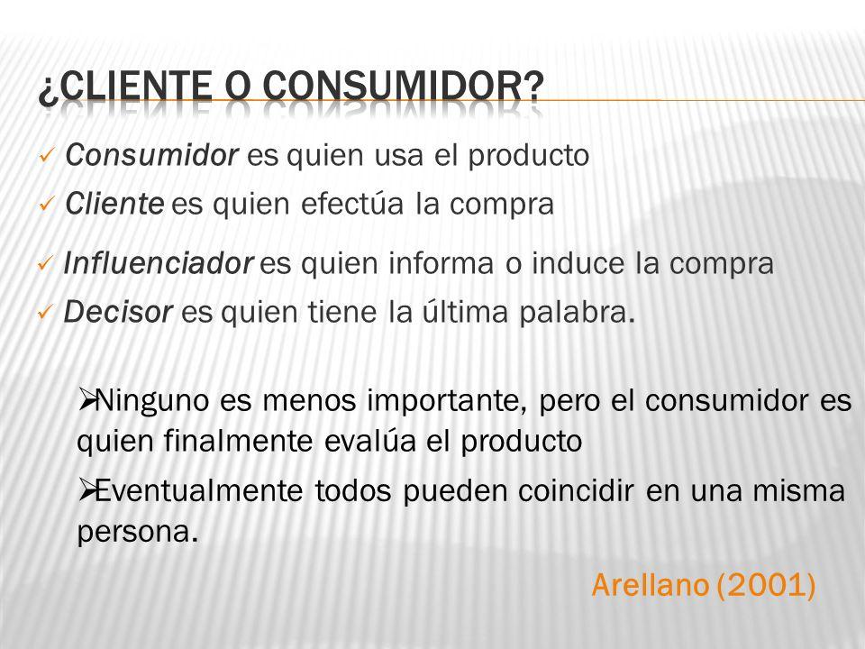 ¿CLIENTE O CONSUMIDOR Consumidor es quien usa el producto