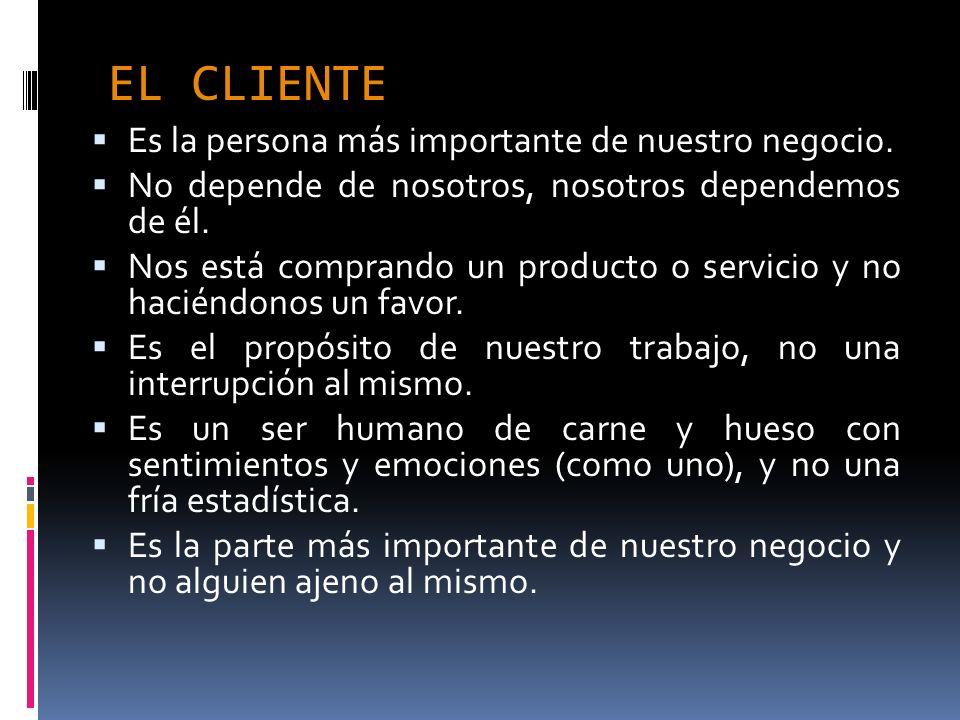 EL CLIENTE Es la persona más importante de nuestro negocio.