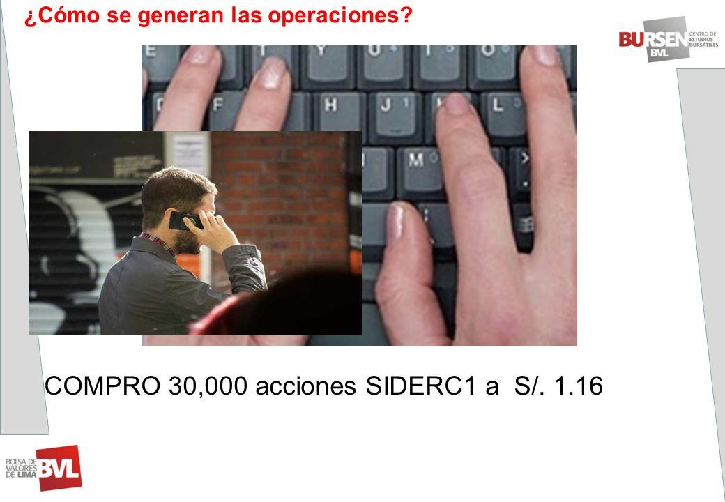 COMPRO 30,000 acciones SIDERC1 a S/. 1.16