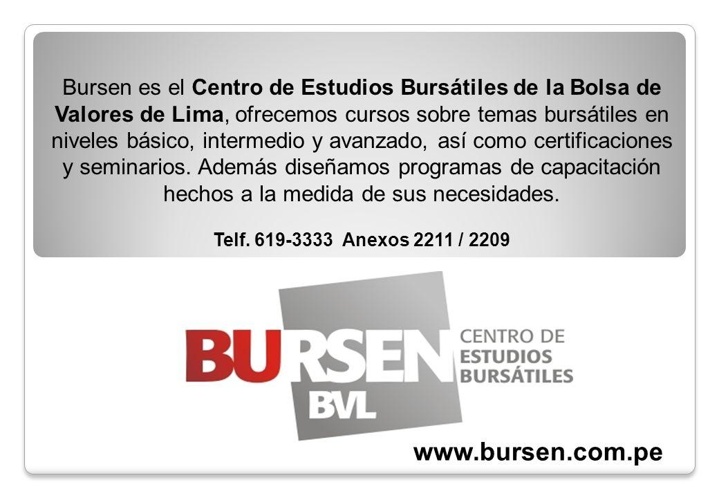 Bursen es el Centro de Estudios Bursátiles de la Bolsa de Valores de Lima, ofrecemos cursos sobre temas bursátiles en niveles básico, intermedio y avanzado, así como certificaciones y seminarios. Además diseñamos programas de capacitación hechos a la medida de sus necesidades.