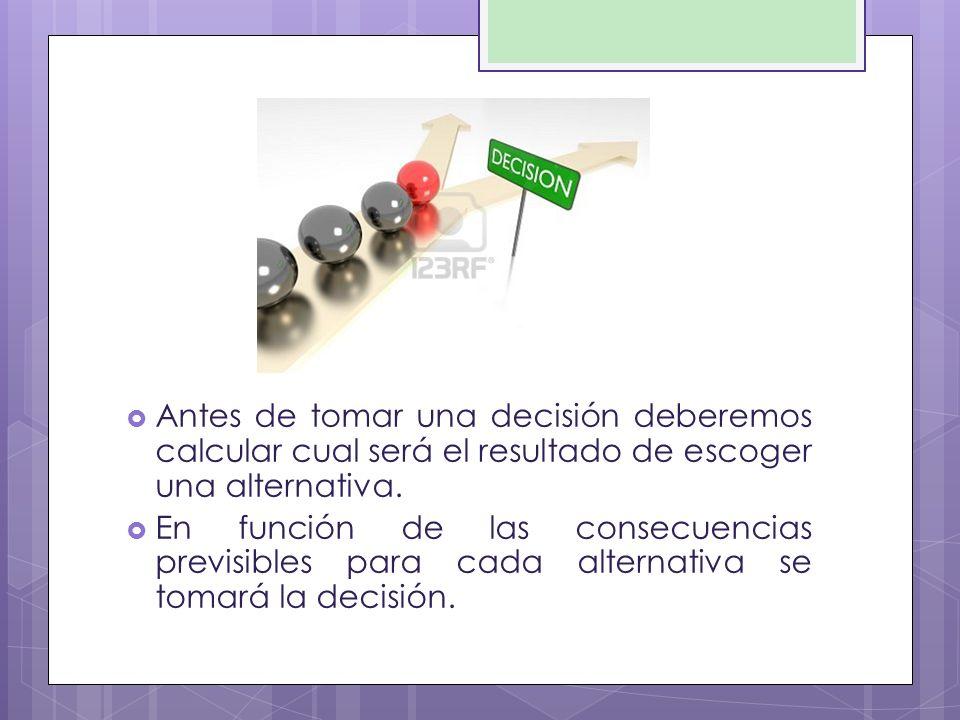 Antes de tomar una decisión deberemos calcular cual será el resultado de escoger una alternativa.