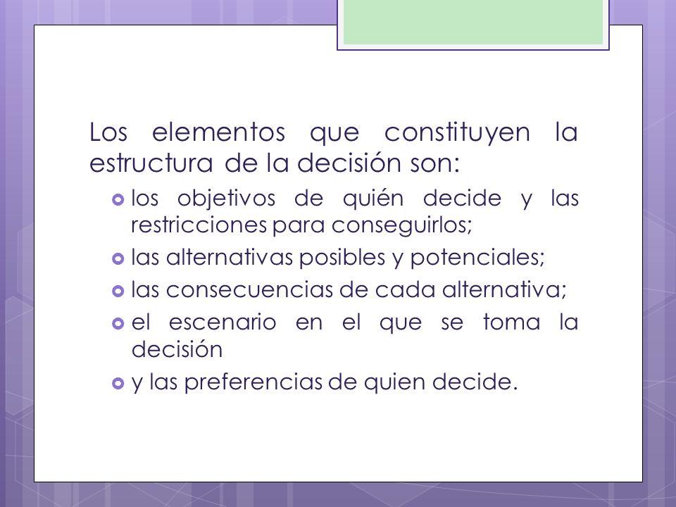 Los elementos que constituyen la estructura de la decisión son: