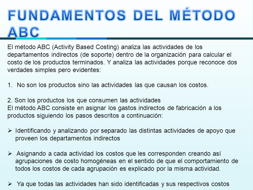 FUNDAMENTOS DEL MÉTODO ABC