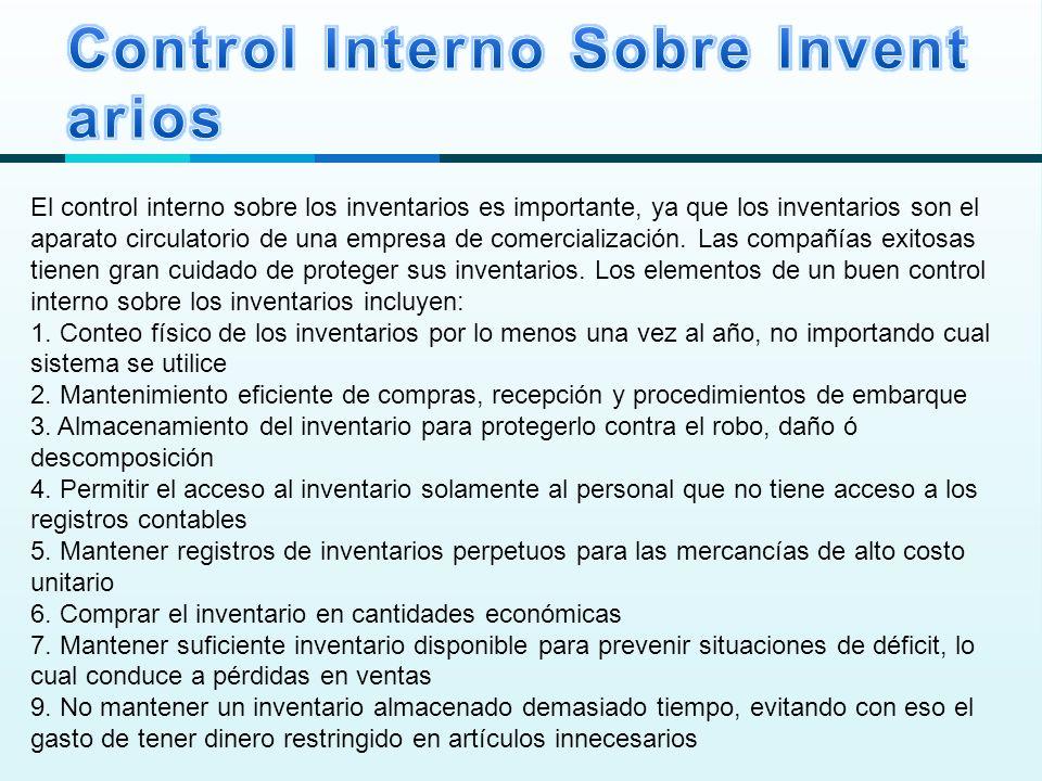 Control Interno Sobre Inventarios