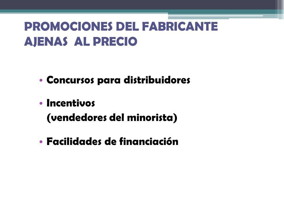 PROMOCIONES DEL FABRICANTE AJENAS AL PRECIO