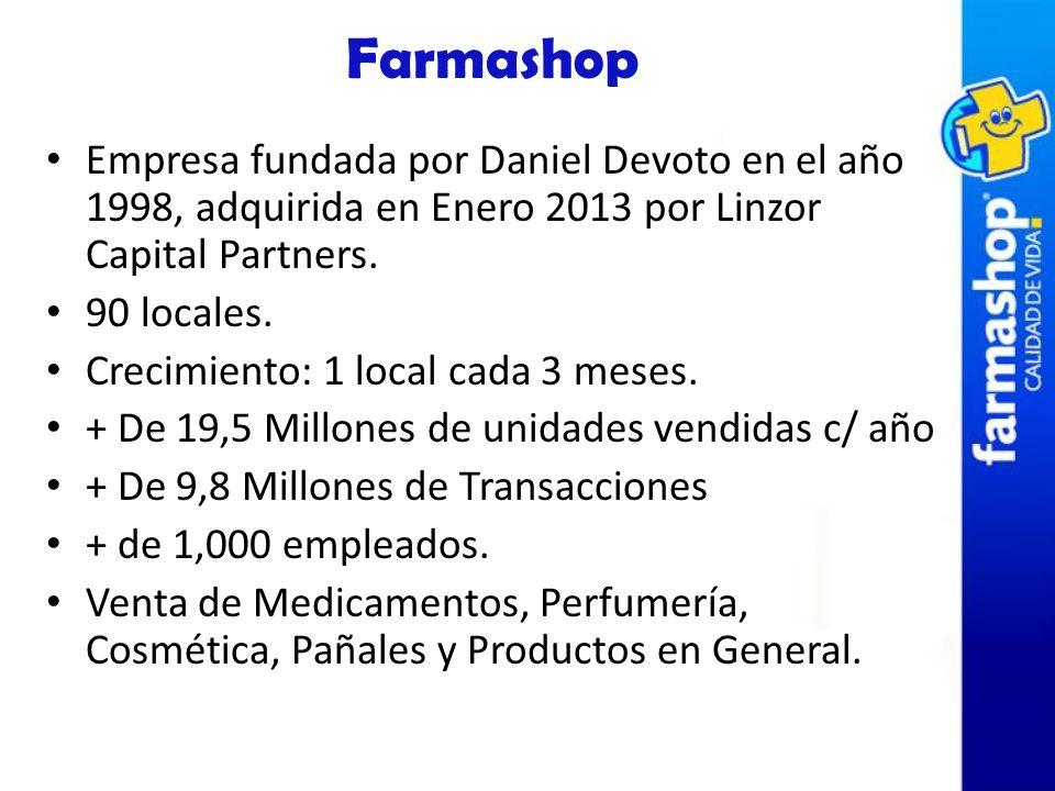 FarmashopEmpresa fundada por Daniel Devoto en el año 1998, adquirida en Enero 2013 por Linzor Capital Partners.