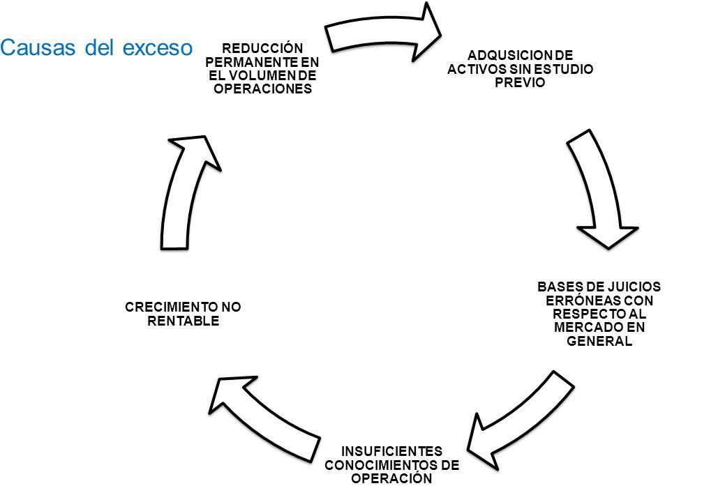 Causas del exceso REDUCCIÓN PERMANENTE EN EL VOLUMEN DE OPERACIONES