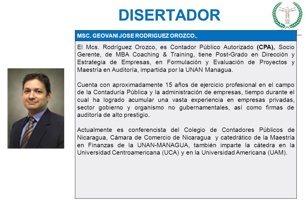 DISERTADOR 29/03/2017. MSC. GEOVANI JOSE RODRIGUEZ OROZCO.,