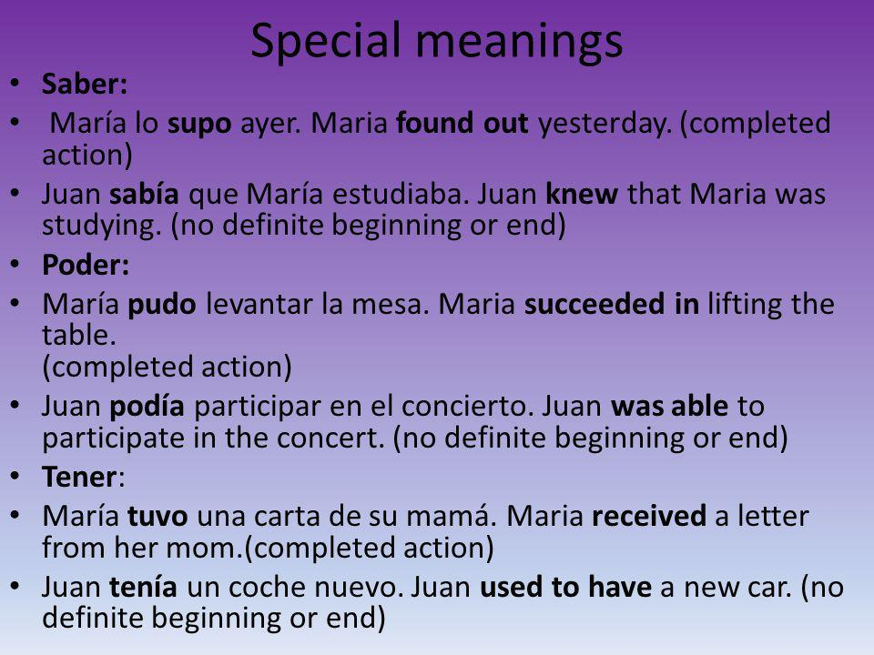 Special meanings Saber: